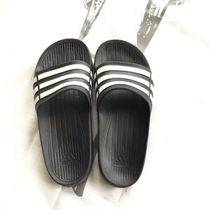 Black adidas sandals. Size 5